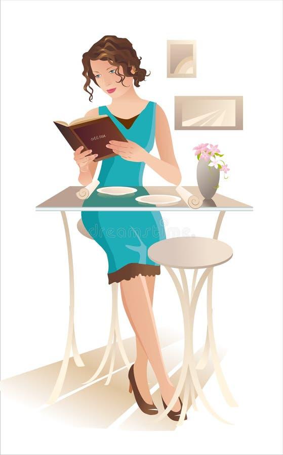 Junge Frau an einem Kaffee lizenzfreie abbildung