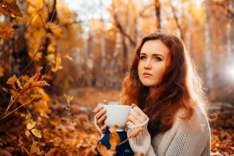 Junge Frau in einer Strickjacke und entspannender Getränktee der Jeans auf Herbsthintergrund stockfotografie