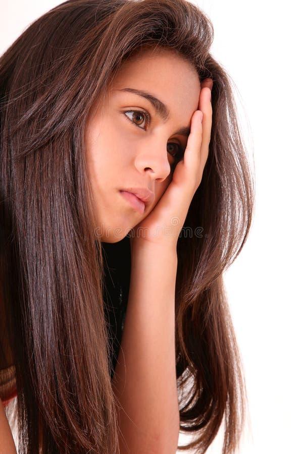 Junge Frau gesorgt lizenzfreies stockbild