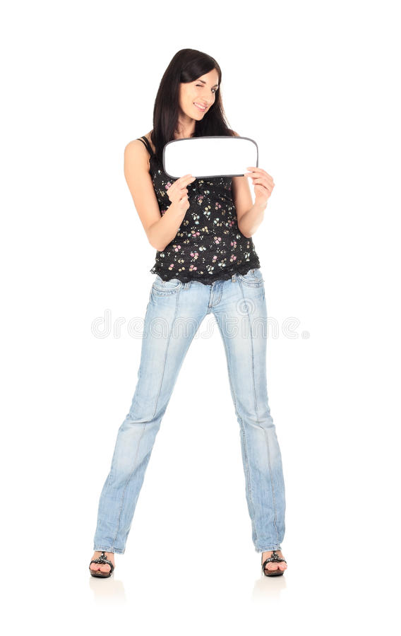 Junge Frau hält unbelegte Karte an stockfotos