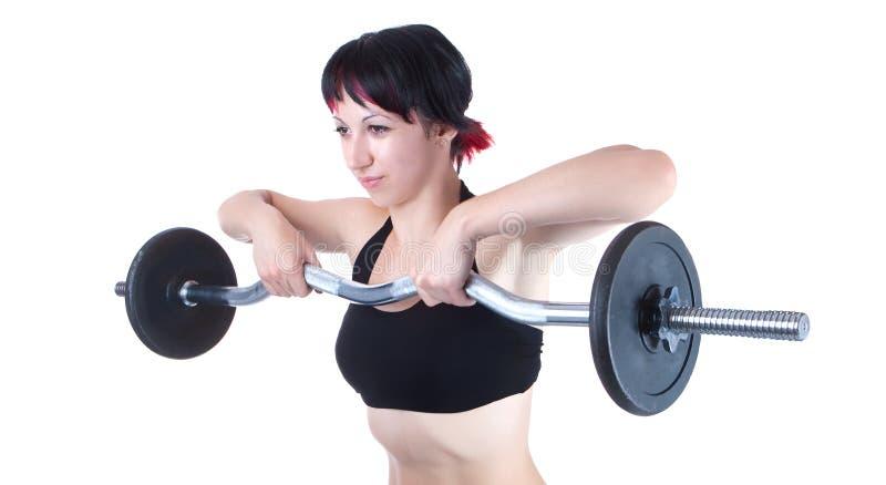 Junge Frau hängen übergibt oben Gewicht stockbilder
