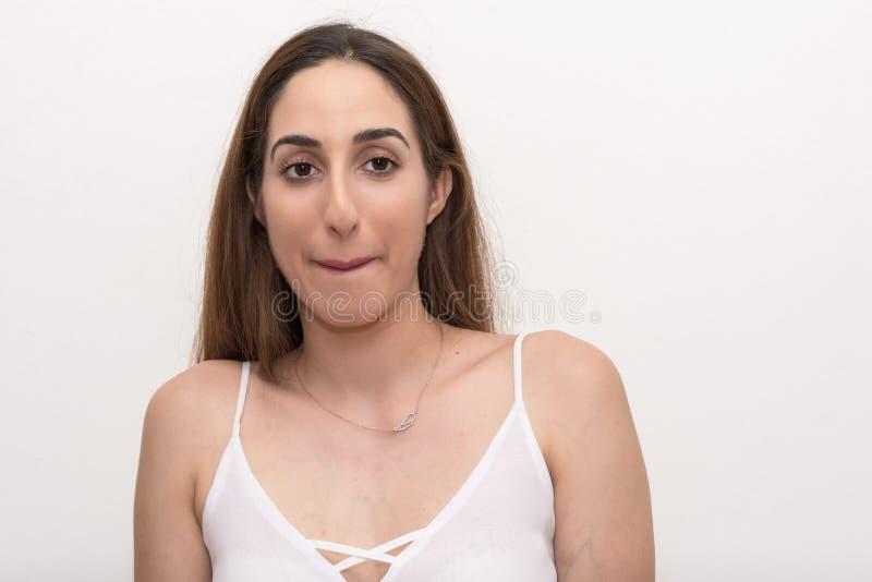 Junge Frau, Headshot, lokalisiert stockbild