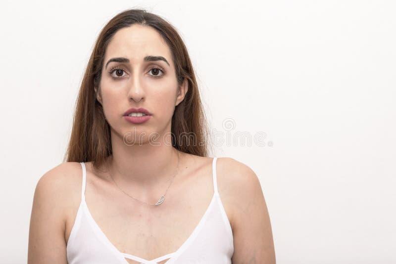 Junge Frau, Headshot, lokalisiert stockfotos