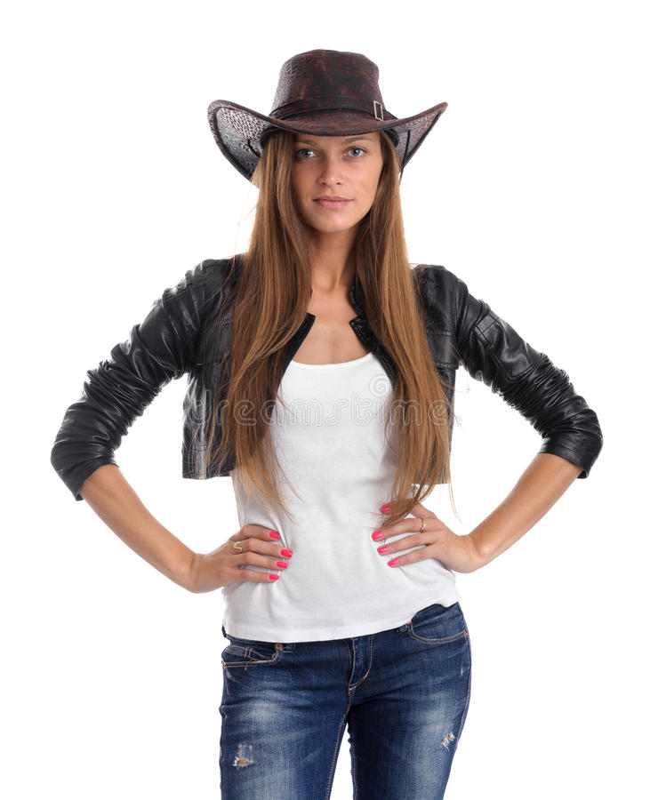 Junge Frau im Cowboyhut lizenzfreie stockfotos