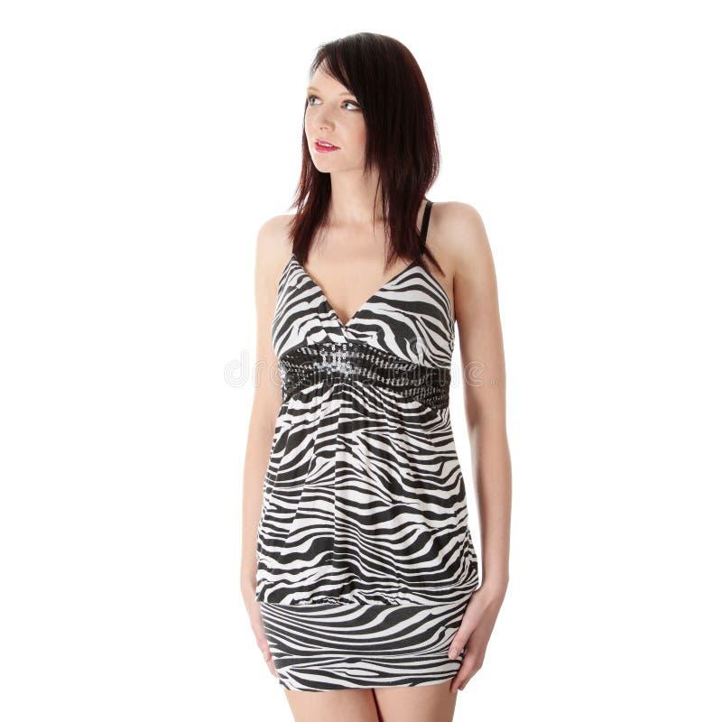 Junge Frau im eleganten Kleid lizenzfreies stockbild