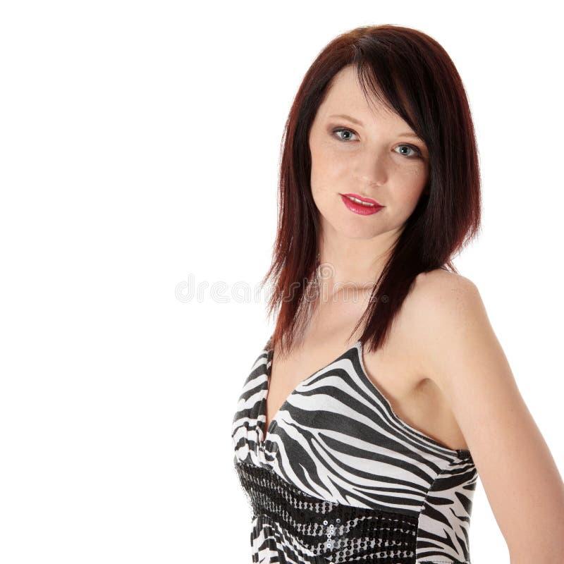 Junge Frau im eleganten Kleid stockbilder