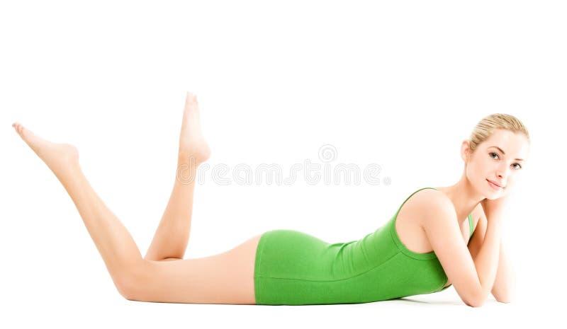 Junge Frau im grünen Beleg stockbilder