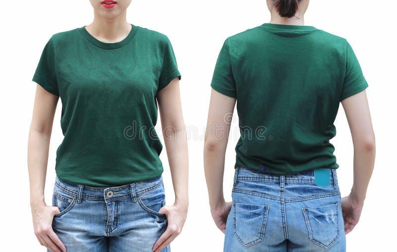 Junge Frau im grünen Hemd auf weißem Hintergrund stockfotografie
