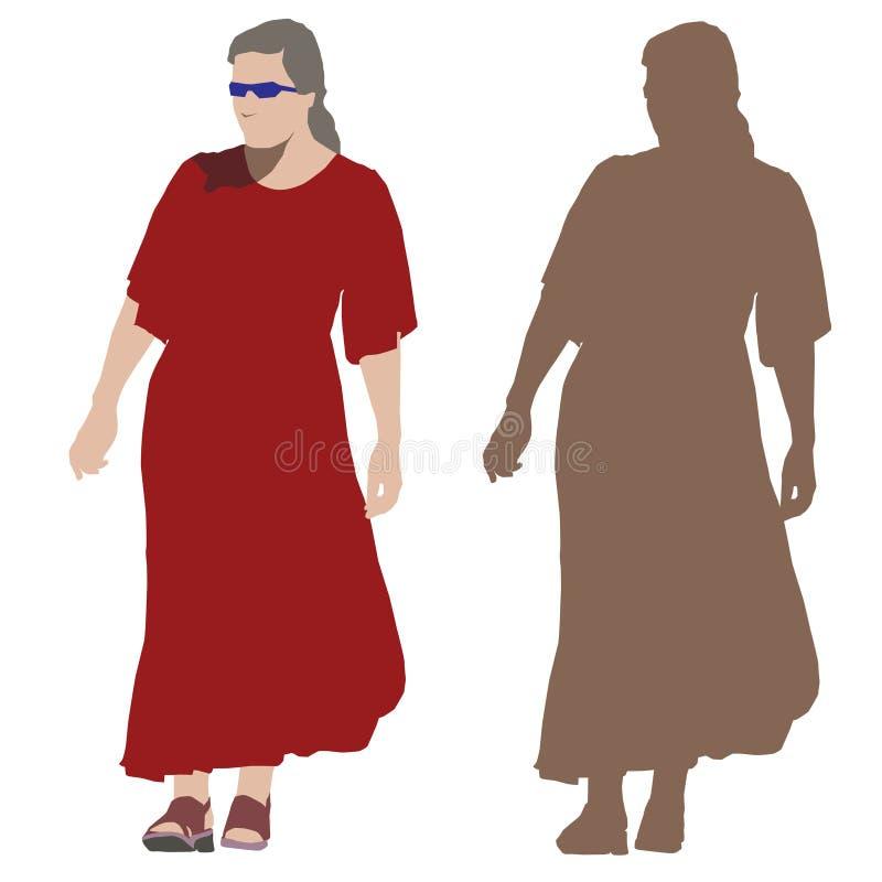 Junge Frau im langen roten Kleid stock abbildung