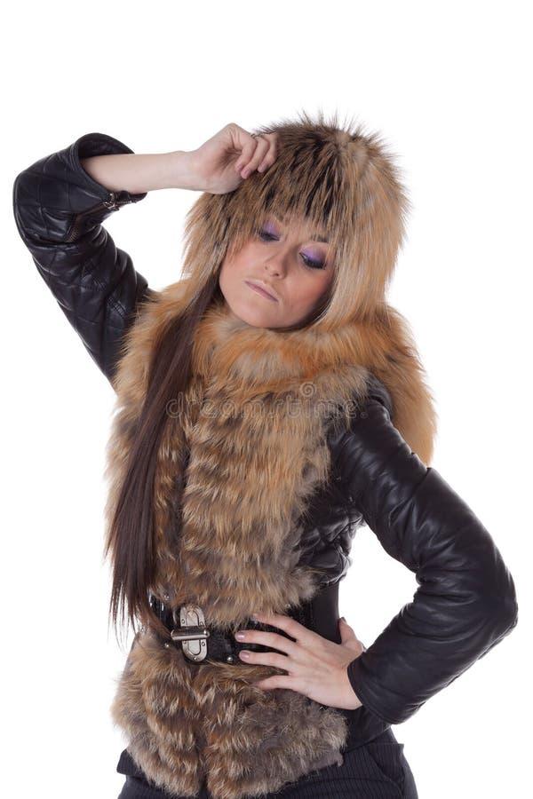 Junge Frau im Pelz. stockfoto