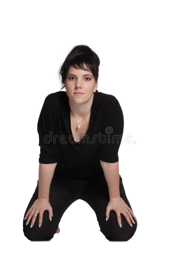Junge Frau im Schwarzen lizenzfreies stockbild