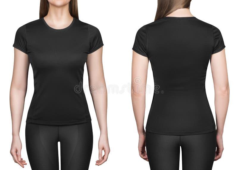 Junge Frau im schwarzen Polohemd-Weißhintergrund lizenzfreie stockfotografie