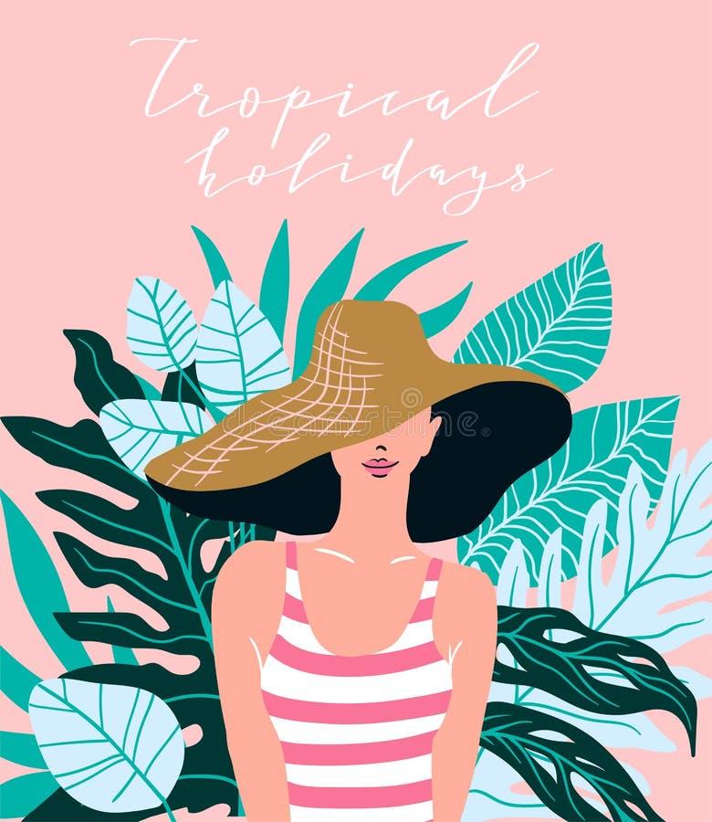 Junge Frau im Strandhut vor dem hintergrund der tropischen Blätter Auch im corel abgehobenen Betrag vektor abbildung