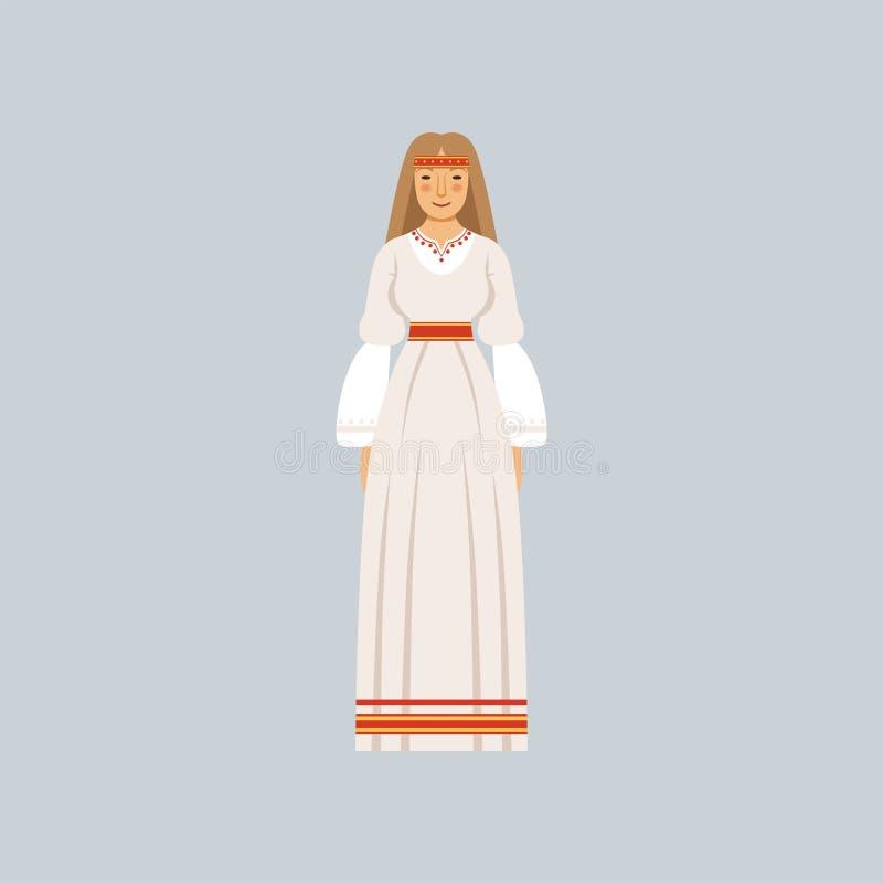 Junge Frau im traditionellen slawischen oder heidnischen Kostüm, Vertreter religiöser Geständnisvektor Illustration stock abbildung