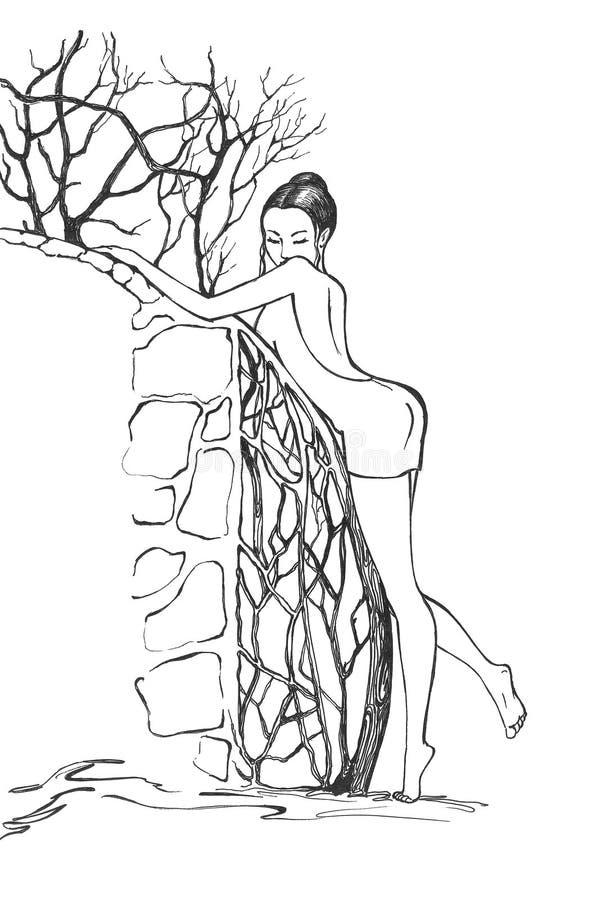 Junge Frau im Wald lizenzfreie abbildung