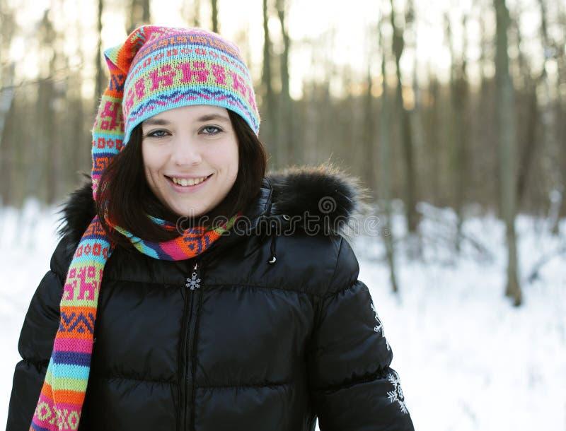 Junge Frau im Winterpark stockbild