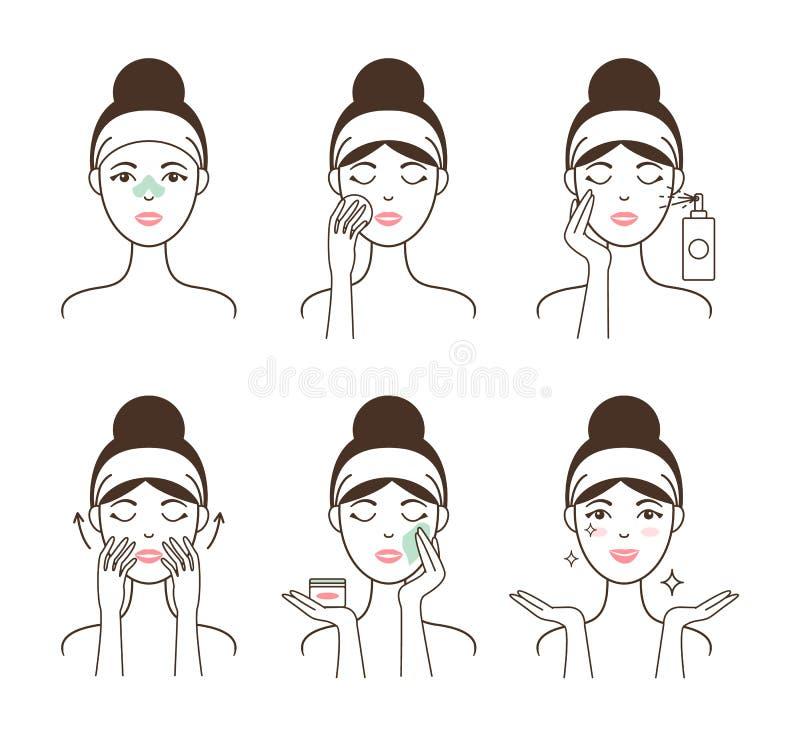 Junge Frau kümmert sich um ihrer Haut mit Kosmetik lizenzfreie abbildung