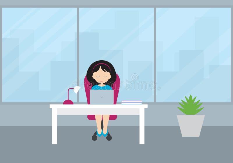 Junge Frau - Manager, der in einer Studie auf einem roten Stuhl an einem whi sitzt vektor abbildung