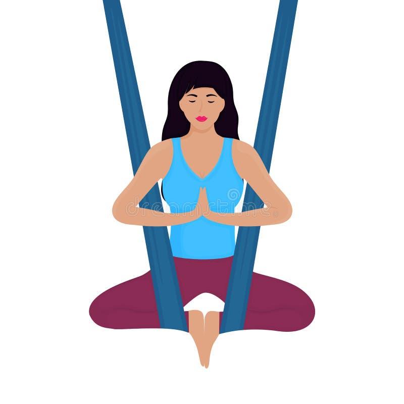 Junge Frau meditiert im Lotussitz in einer Hängemattenvektorillustration Fliegen-Yoga vektor abbildung