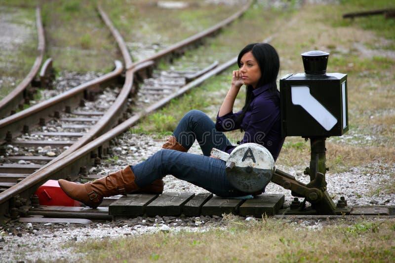 Junge Frau mit über das Weiche Richtung stockfotografie