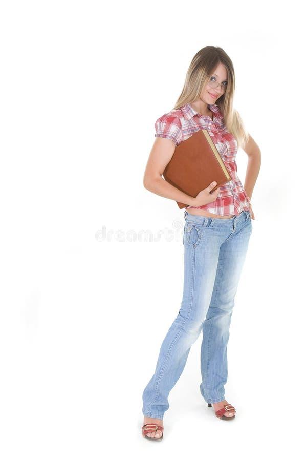 Junge Frau mit Buch stockfoto