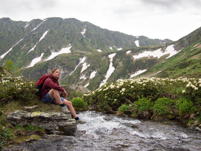 Junge Frau mit dem Rucksack, der auf der Bank des Flusses mit Blumen sitzt stockbilder