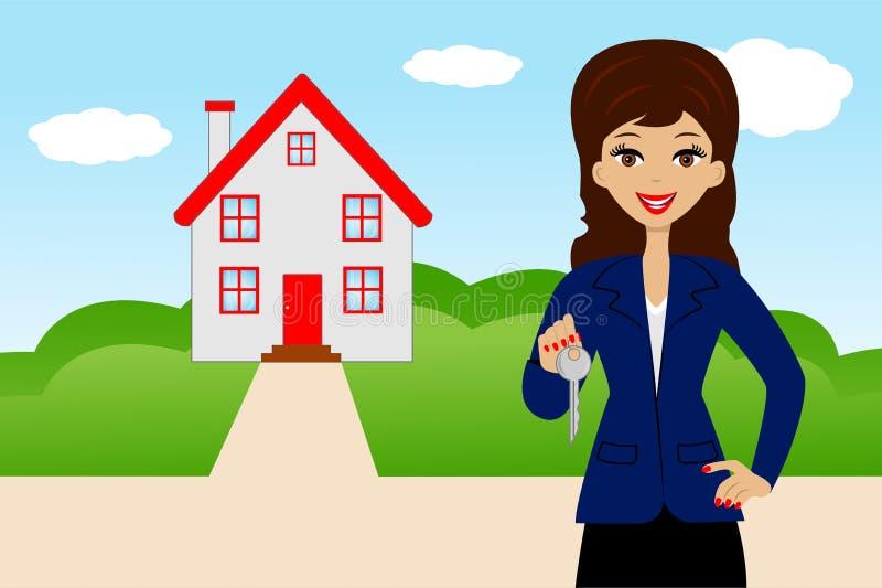 Junge Frau mit dem Schlüssel in den Händen auf einem Hintergrund ein neues Haus stock abbildung