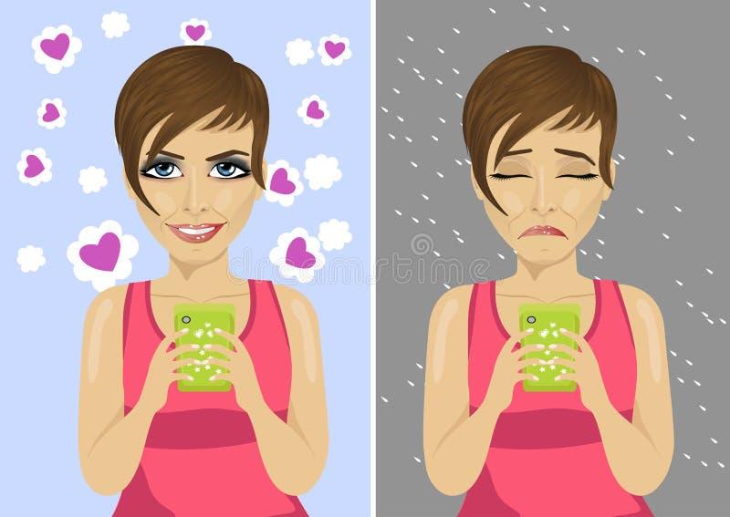 Junge Frau mit den glücklichen und unglücklichen Ausdrücken unter Verwendung ihres Smartphone vektor abbildung