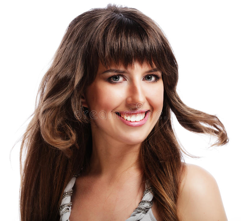 Junge Frau mit den langen gelockten Haaren lizenzfreies stockbild