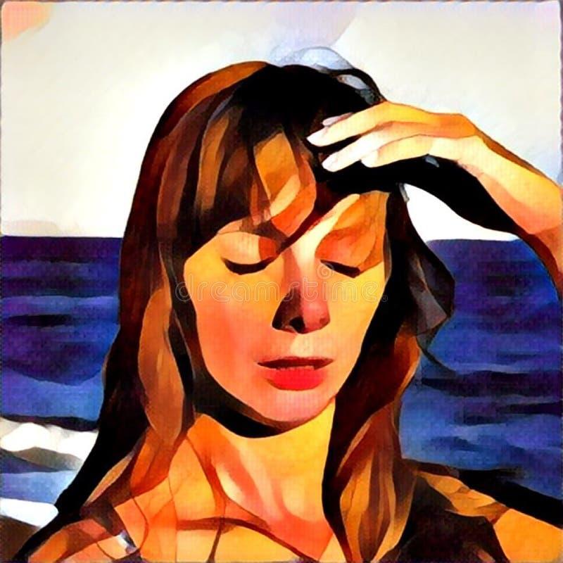 Junge Frau mit digitaler Illustration des Hitzschlag, Sonnenstich auf einem Strand, gesunder Lebensstil im Urlaub, stock abbildung