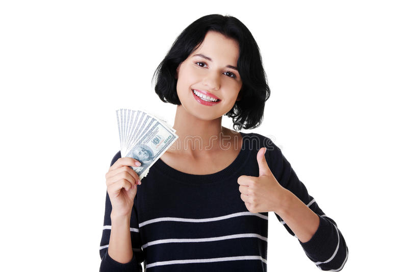 Download Junge Frau mit Dollar stockfoto. Bild von gesicht, glücklich - 27729502