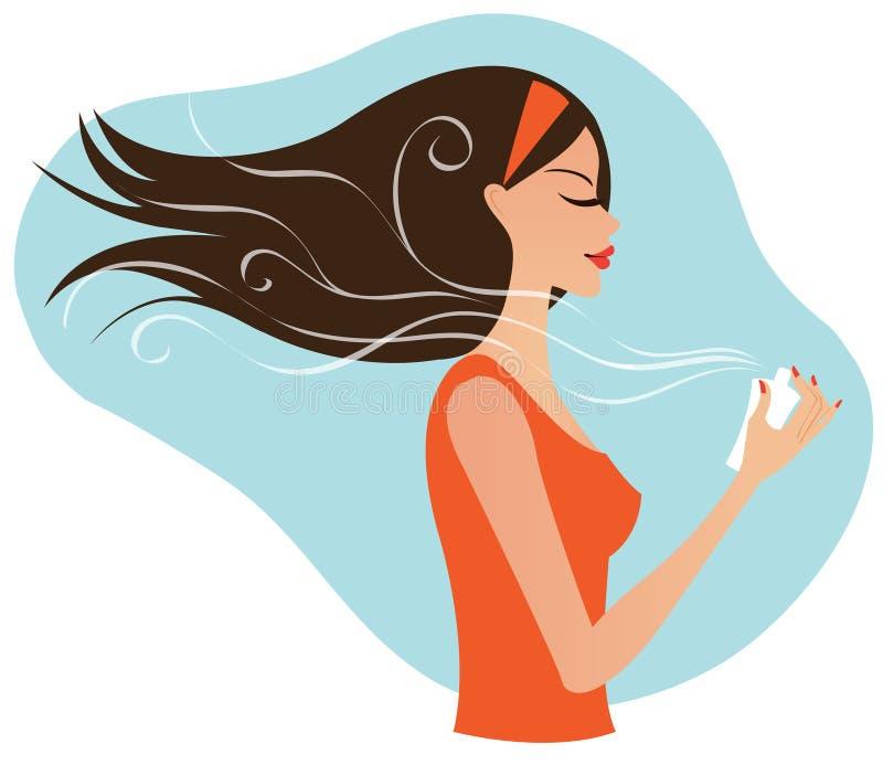 Junge Frau mit Duftstoff lizenzfreie abbildung