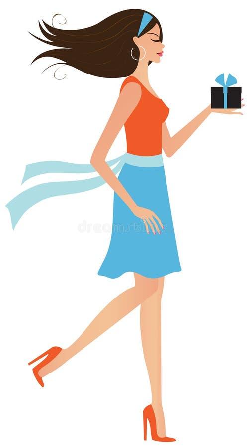Junge Frau mit einem Geschenk vektor abbildung