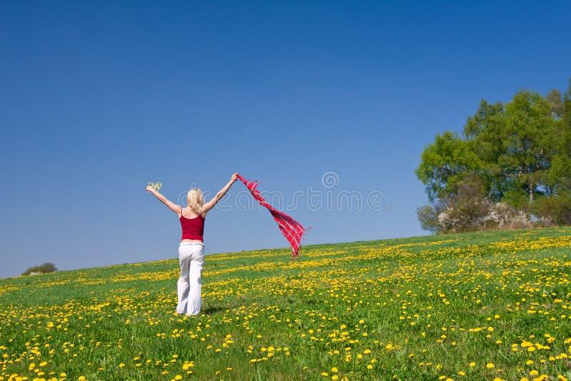 Download Junge Frau Mit Einem Roten Schal Auf Einer Wiese Stockfoto - Bild von löwenzahn, freude: 9087442