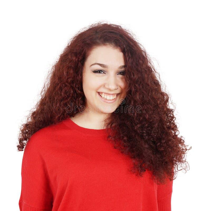 Junge Frau mit einem toothy Lächeln stockfotografie