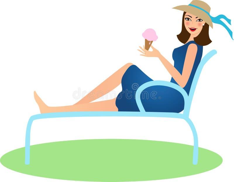 Junge Frau mit Eiscreme stock abbildung