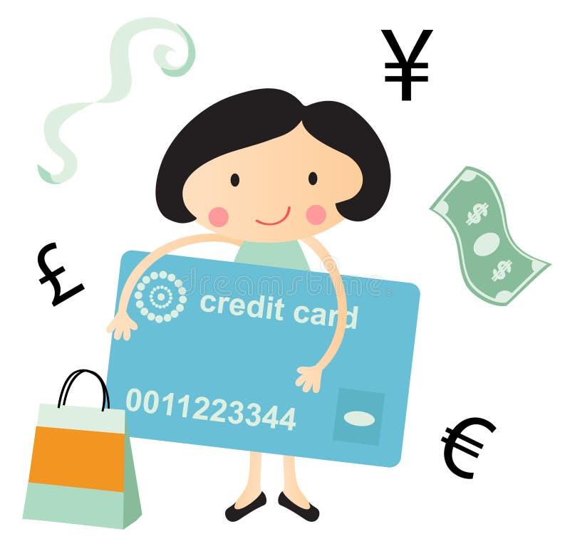Junge Frau mit Finanzsymbolen lizenzfreie abbildung
