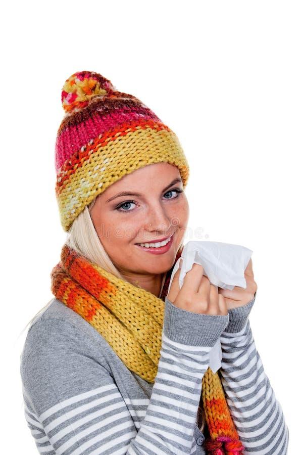 Junge Frau mit Gewebe stockfoto
