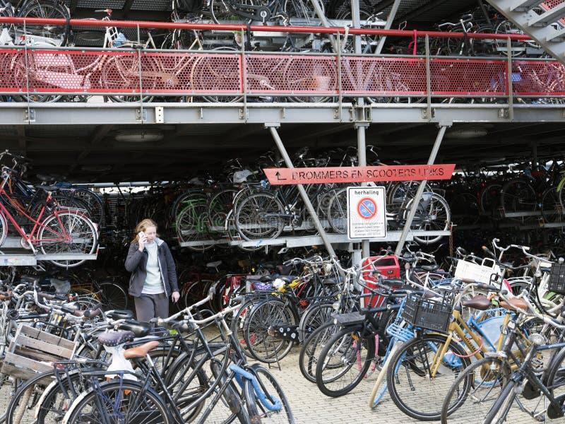 Junge Frau mit Handy an der Fahrradaufbewahrung am zentralen Bahnhof Groningen stockfotografie