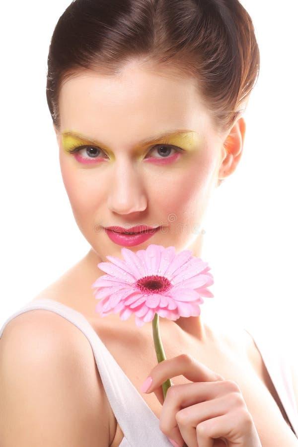 Download Junge Frau Mit Hellem Bilden Stockbild - Bild von gerber, getrennt: 96928849