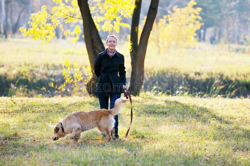 Junge Frau mit Hund lizenzfreie stockfotos