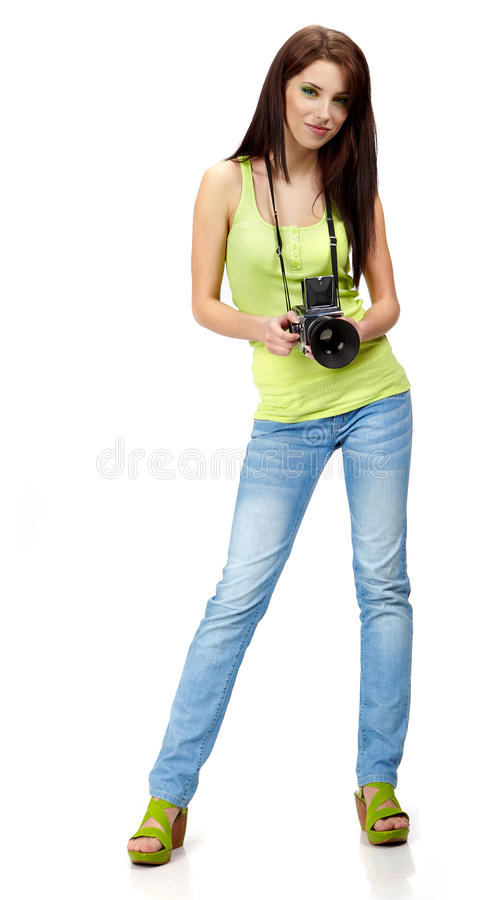 junge Frau mit Kamera. lizenzfreie stockbilder