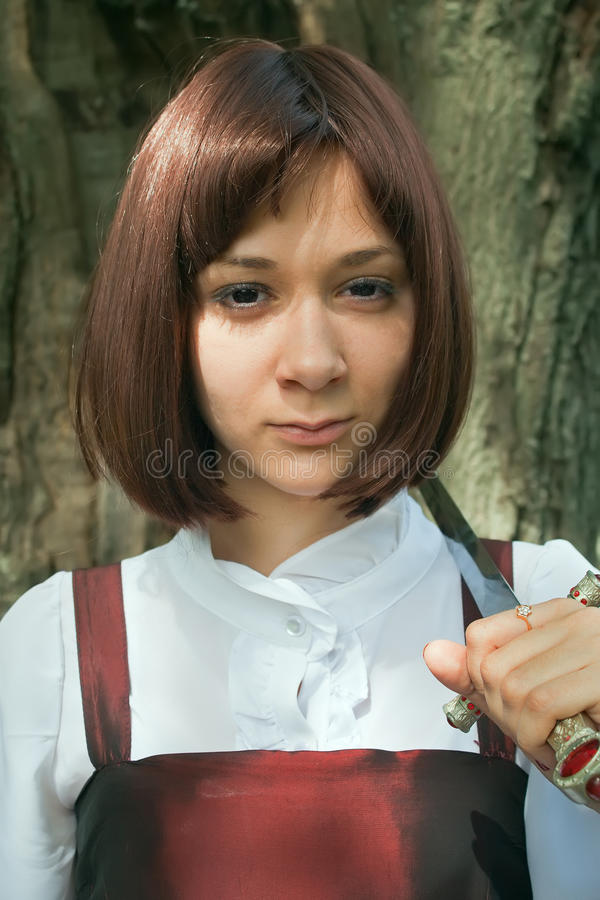 Junge Frau mit Klinge 4 lizenzfreie stockfotos