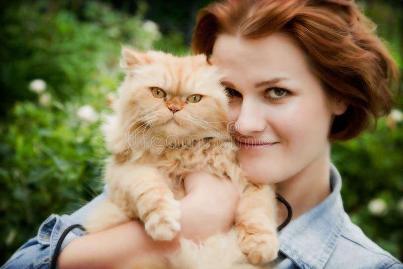 Junge Frau mit persischer Katze stockbilder