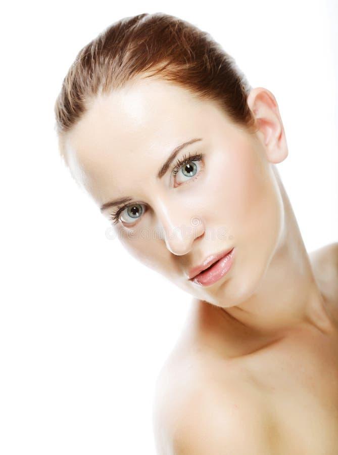 Junge Frau mit sauberer Haut stockbilder