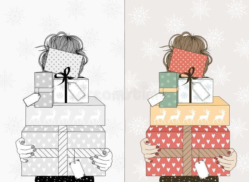 Junge Frau mit Weihnachtsgeschenken lizenzfreie abbildung