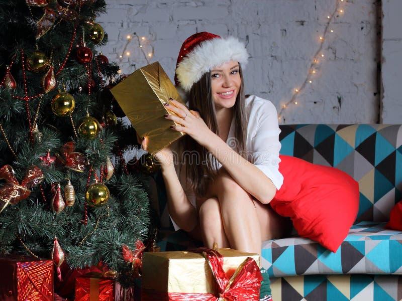 Junge Frau mit Weihnachtsgeschenken lizenzfreie stockfotos