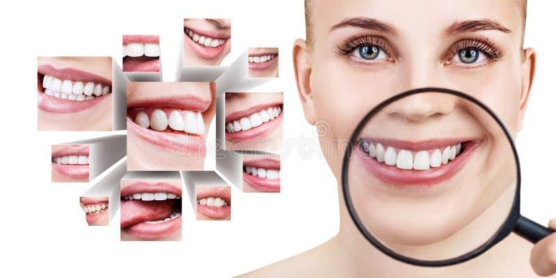Junge Frau nahe Collage mit den Gesundheitszähnen stockbilder