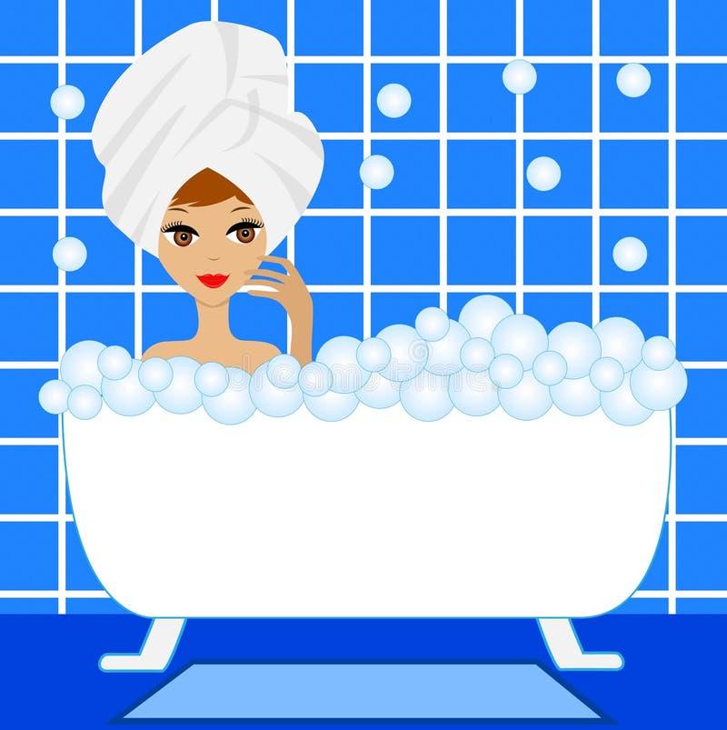 Junge Frau nehmen ein Bad mit Schaum stock abbildung