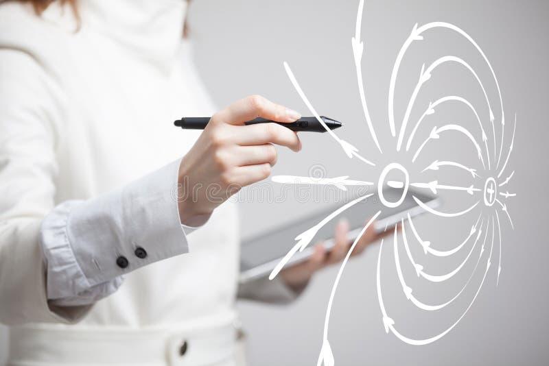 Junge Frau, Physiklehrer zeichnet ein Diagramm des elektrischen Feldes lizenzfreies stockbild